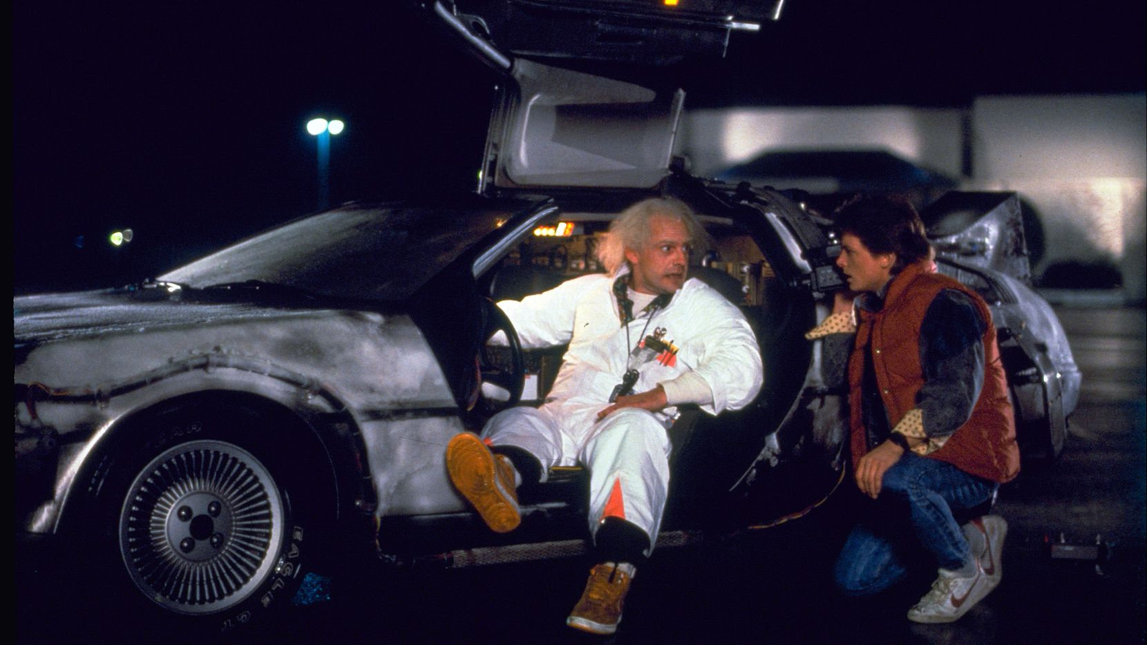 """""""Back to the Future"""" characters Marty McFly (Michael J. Fox, right) and Dr. Emmett Brown (Christopher Lloyd).  (Universal Pictures Home Entertainment)"""