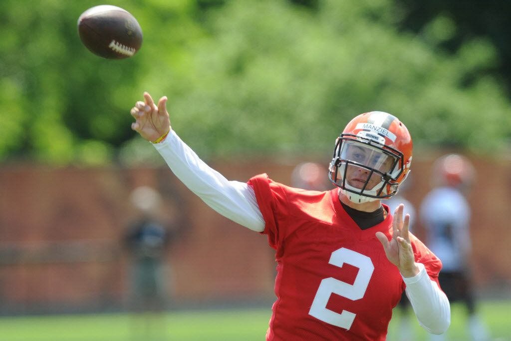 Jun 16, 2015; Berea, OH, USA; Cleveland Browns quarterback Johnny Manziel (2) throws a pass during minicamp at the Cleveland Browns practice facility. Mandatory Credit: Ken Blaze-USA TODAY Sports