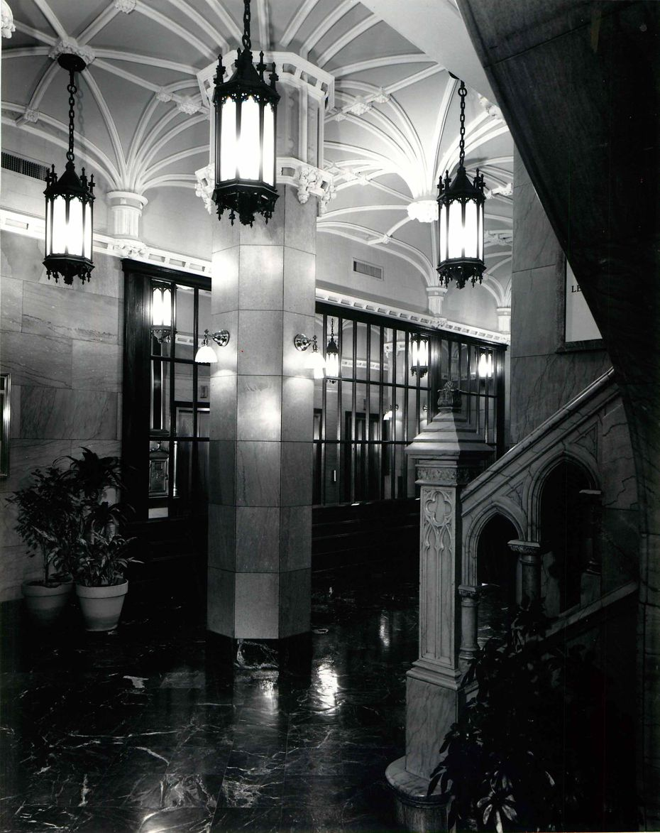 Architects who redid the Kirby Building won an award for the creative reuse of original building materials: marble, millwork, brass hardware and light fixtures. Photo from Nov. 10, 1980, The Pierce Partnership Inc.