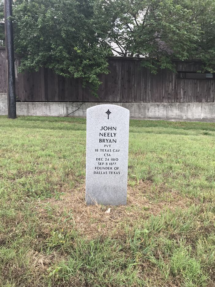 A headstone marking the likely final resting place of John Neely Bryan at the Austin State Hospital cemetery was photographed on May 23, 2018. Bryan, the founder of Dallas, was committed to the hospital in Austin, then known as the State Lunatic Asylum, in February 1877 and died in September of that year.