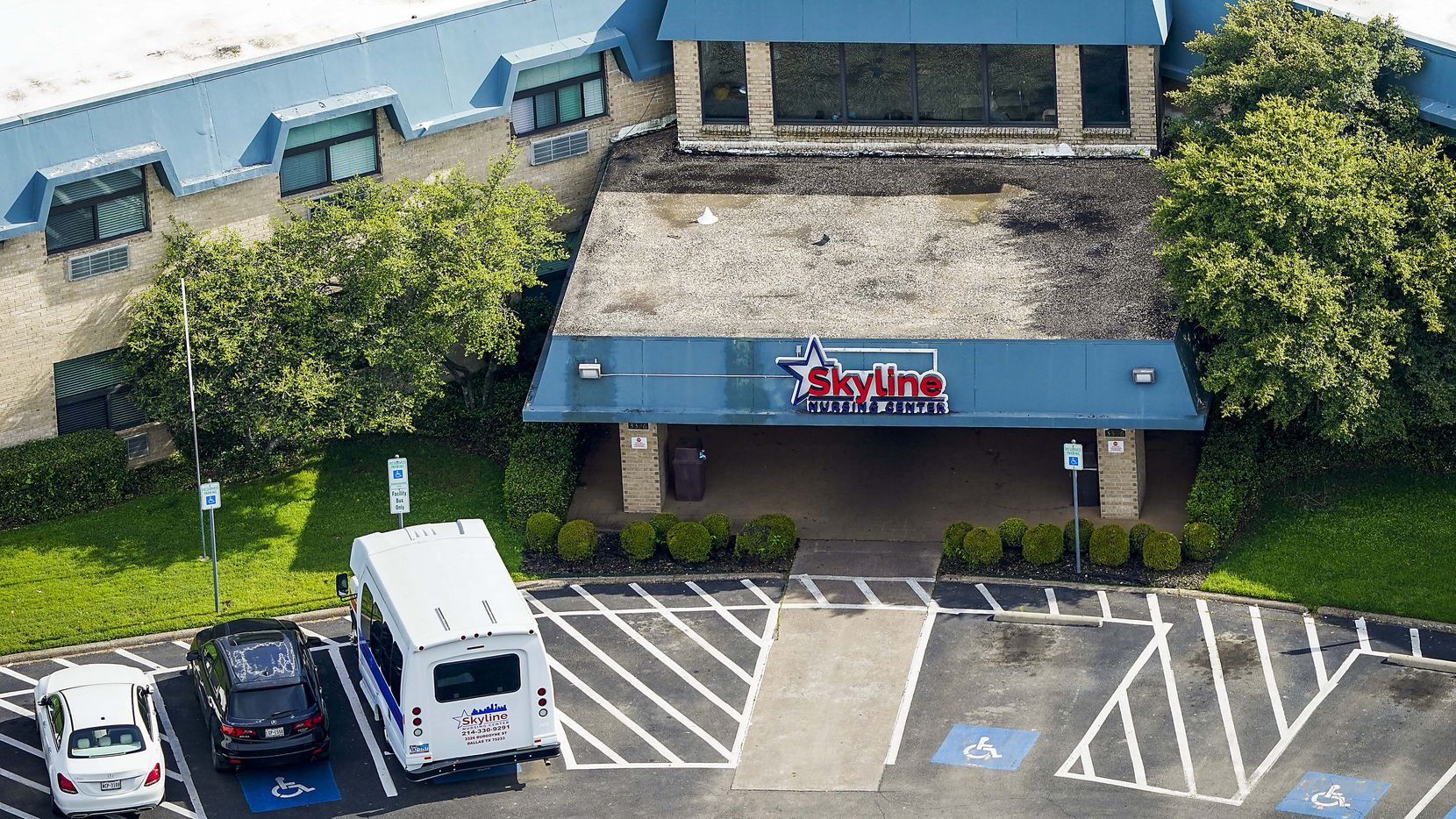 An aerial view of Skyline Nursing Center in Dallas. Thirty cases of coronavirus have been reported at the facility, officials said Sunday.