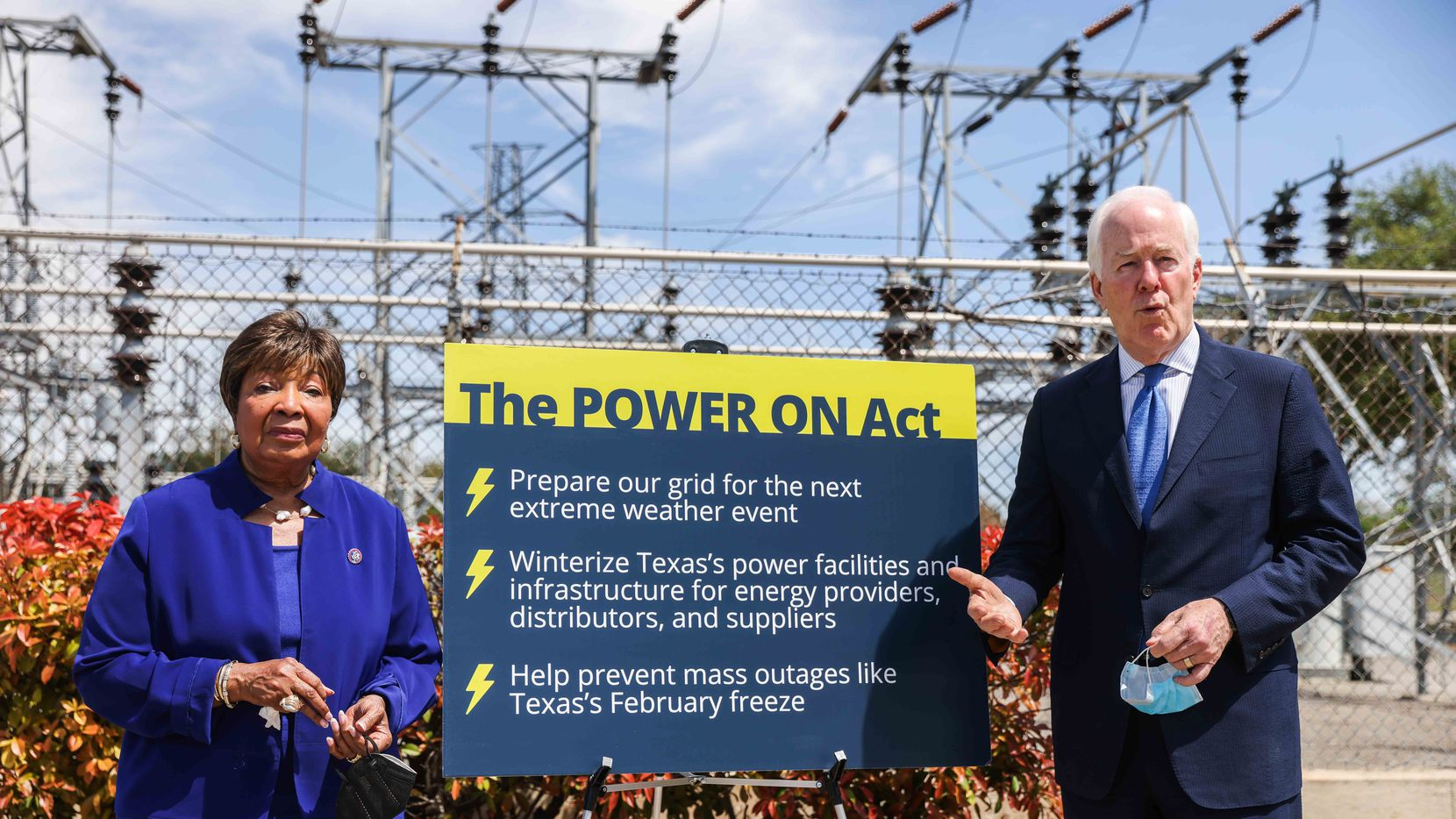 Senator John Cornyn (R-TX) joins U.S. Representative Eddie Bernice Johnson (TX-30) during a press conference outside an electrical substation to announce their bipartisan legislation to help weatherize Texas's energy grid in Dallas on Thursday, April8, 2021. The POWER ON Act aims to prevent a future severe storm, like the one Texas saw in February, from crippling our electrical grid and leaving countless Texans without electricity for days on end.  It will assist Texas power providers, distributors, and suppliers with funding to winterize their facilities and infrastructure to prepare for future extreme weather events.