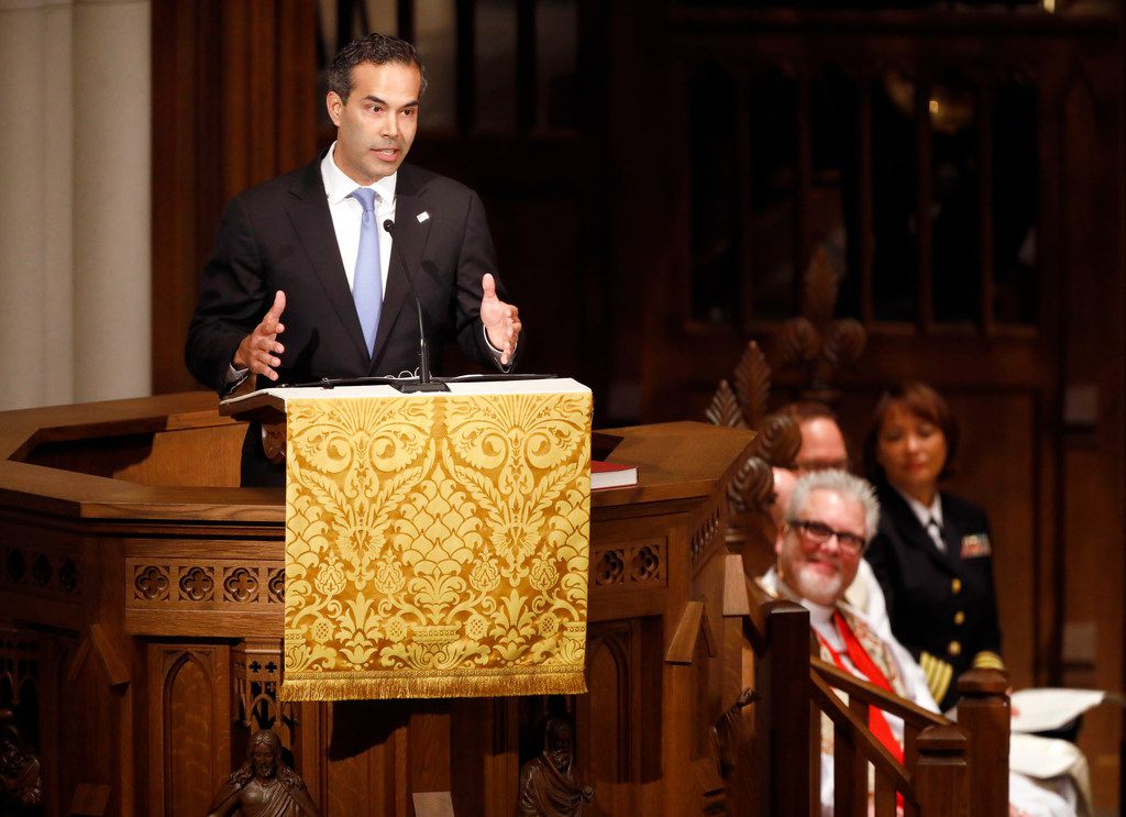 Commissioner of the Texas General Land Office George P. Bush delivers the eulogy for his grandfather, George H.W. Bush, the 41st President of the United States, during a funeral at St. Martin's Episcopal Church in Houston, Thursday, December 6, 2018.
