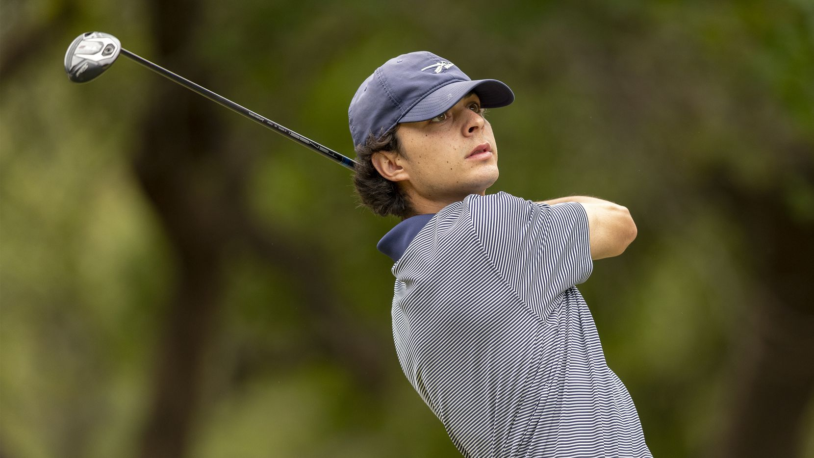 Keller's Jackson Naeger hits from the first tee box during the final round of the UIL Class 6A boys golf state tournament in Georgetown on May 18, 2021.