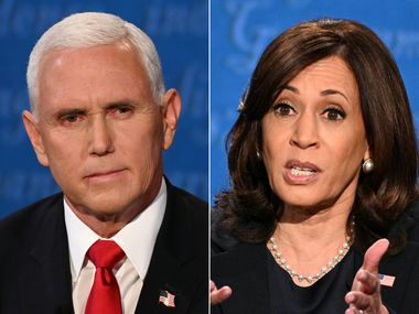 Vice President Mike Pence and Sen. Kamala Harris during the vice presidential debate in Kingsbury Hall at the University of Utah on October 7, 2020, in Salt Lake City.