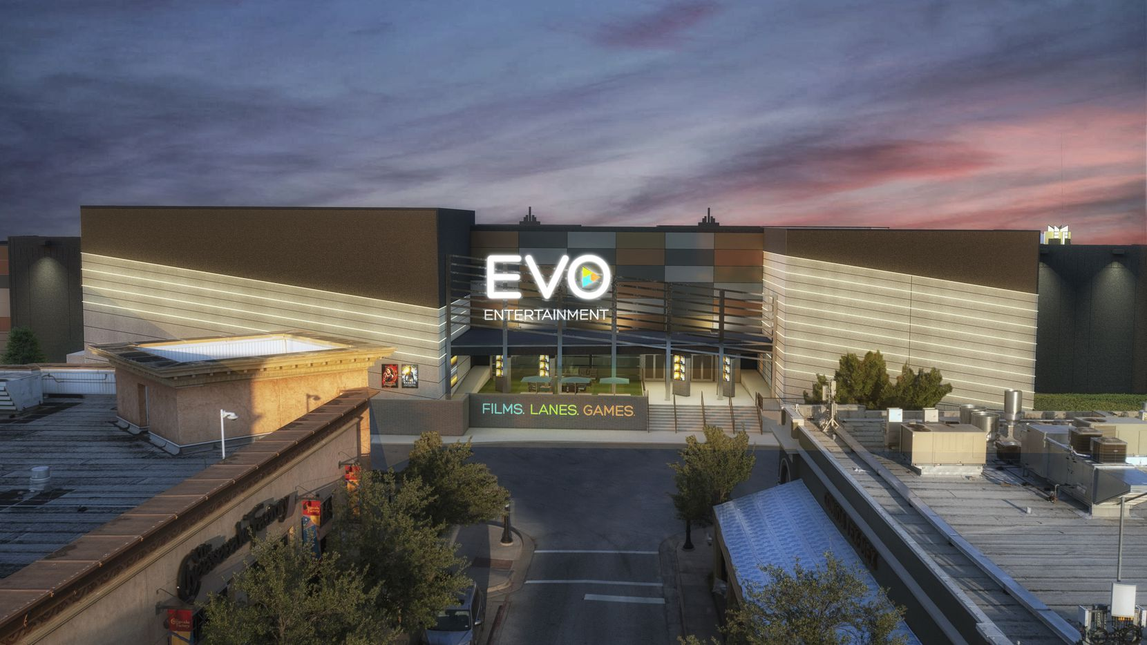 Austin-based EVO Entertainment is expanding to North Texas, with a first location in Southlake shown in this rendering.