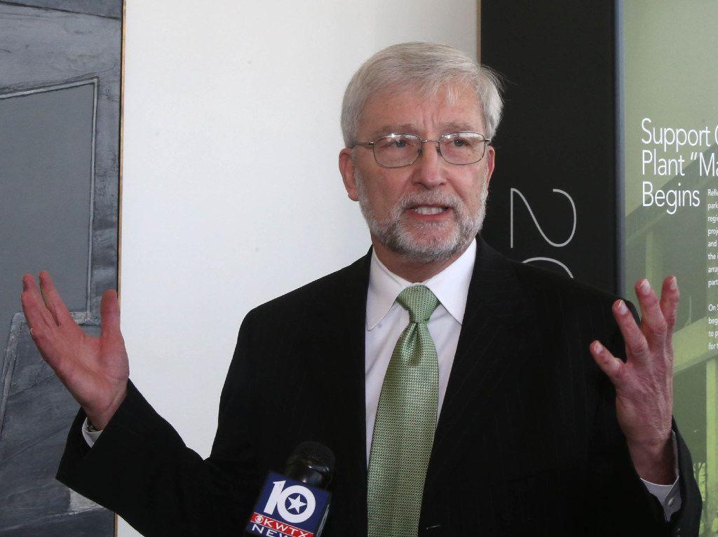 Dr. David E. Garland, interim president  Baylor University address the media, Friday Feb. 17, 2017, in Waco, Texas. (Jerry Larson, Waco Tribune Herald)