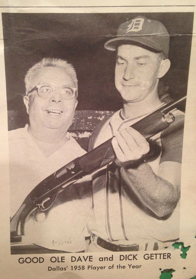 From an old program kept in Dick Getter's scrapbook, the hitter and Dave Goldstein