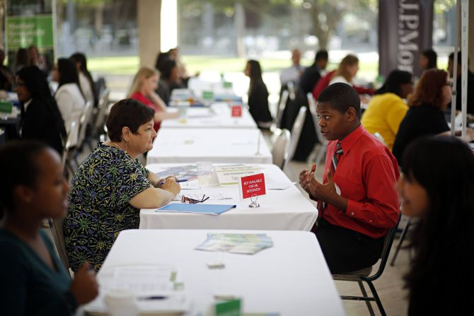 Sandi Smith of Junior Achievement of Dallas talked to Dallas ISD student Terah Ehigiator at the Mayor's Summer Intern Fellows Program interview session back in May. Nationally, summer teen employment continued to languish this year.
