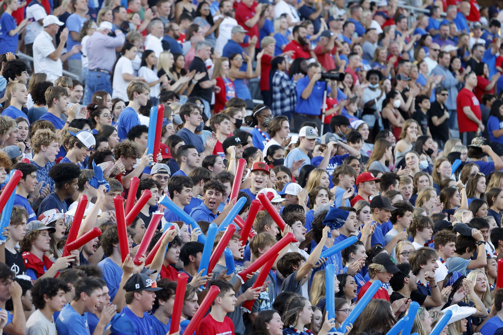 Grapevine fans cheer as they played Colleyville Heritage during the first half of their high school football game in Grapevine, Texas on Aug. 27, 2021. (Michael Ainsworth/Special Contributor)