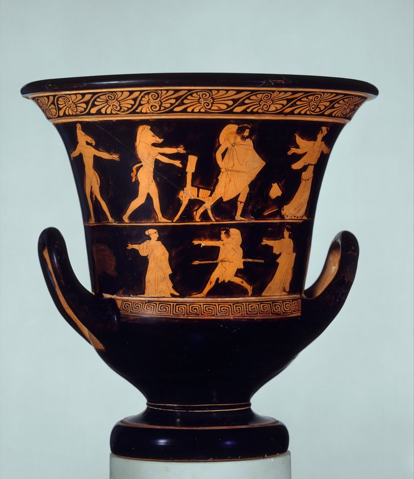 An ancient wine vessel depicts the scene from Homer's Odyssey where Odysseus confronts Circe after she transforms his men into pigs.