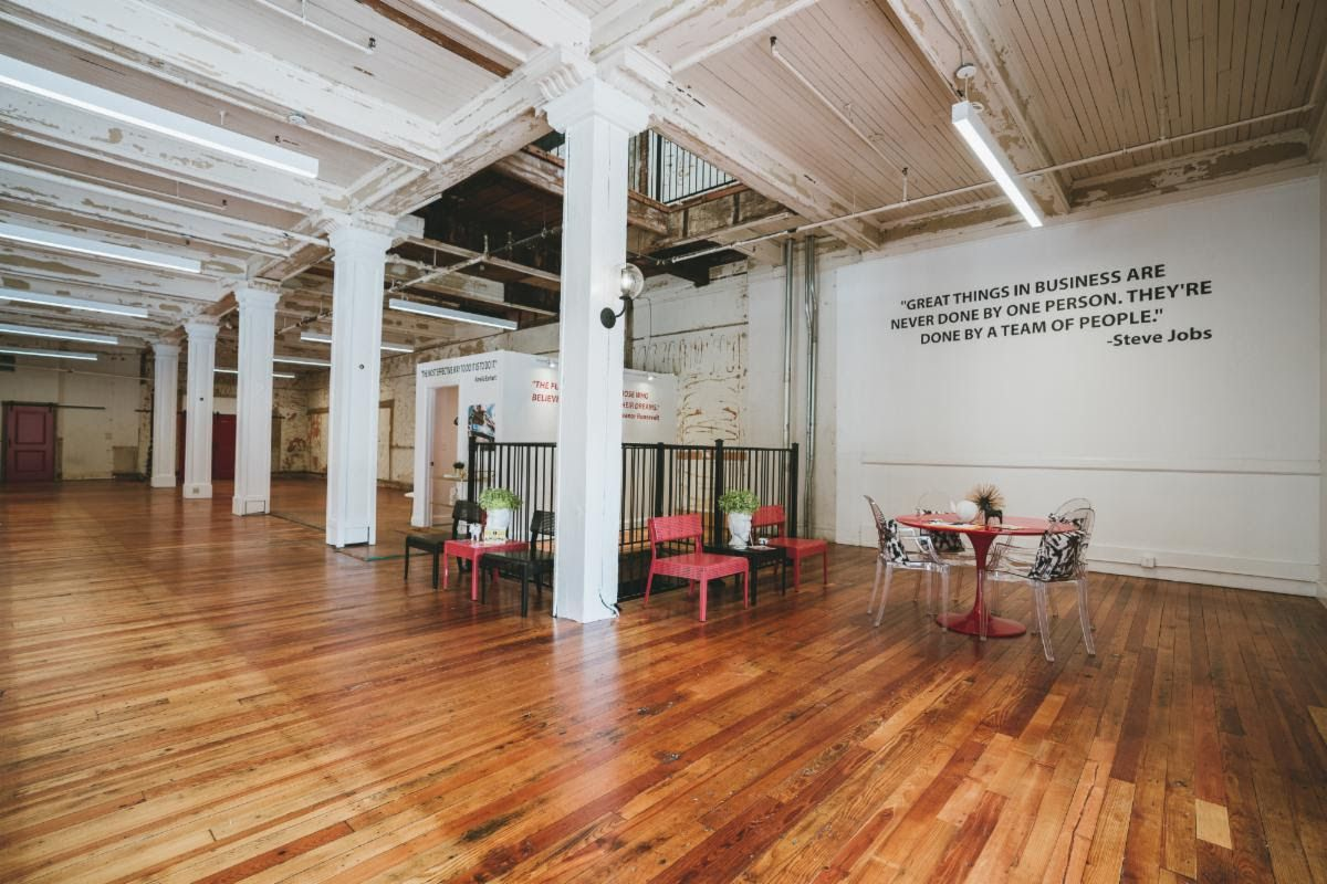 The brick-and-timber interior of the six-story Purse Building has been cleaned out for conversion to office space.