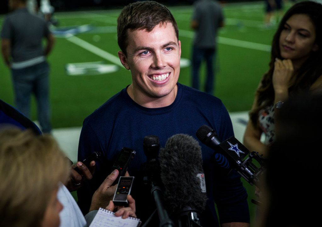 Dallas Cowboys offensive coordinator Kellen Moore speaks to reporters after a Dallas Cowboys OTA practice on Wednesday, May 29, 2019 at The Star in Frisco. (Ashley Landis/The Dallas Morning News)
