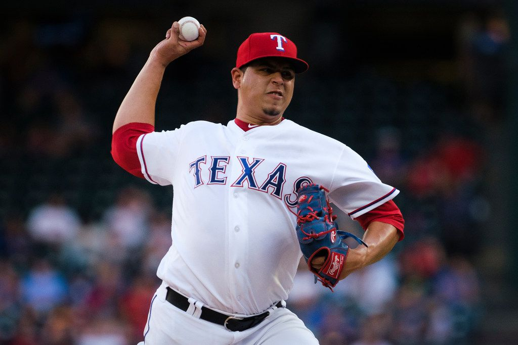 Texas Rangers relief pitcher Ariel Jurado delivers during the second inning against the Seattle Mariners at Globe Life Park on Tuesday, July 30, 2019, in Arlington. (Smiley N. Pool/The Dallas Morning News)