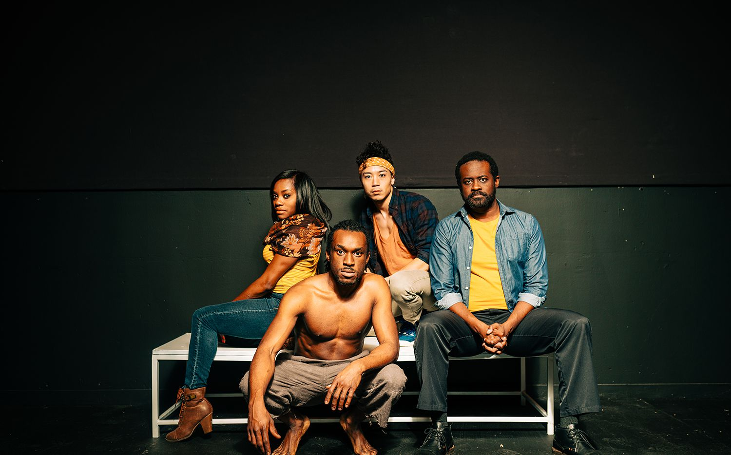 """Kristen D'sha, McClendon 'Mickey' Giles, Christopher Lew and Sam Henderson from Second Thought Theatre's """"Mlima's Tale,"""" which ran in 2020 before the pandemic at the Kalita Humphreys Theater. Second Thought is one of the arts organizations that is supporting the Save Our Stages bill."""