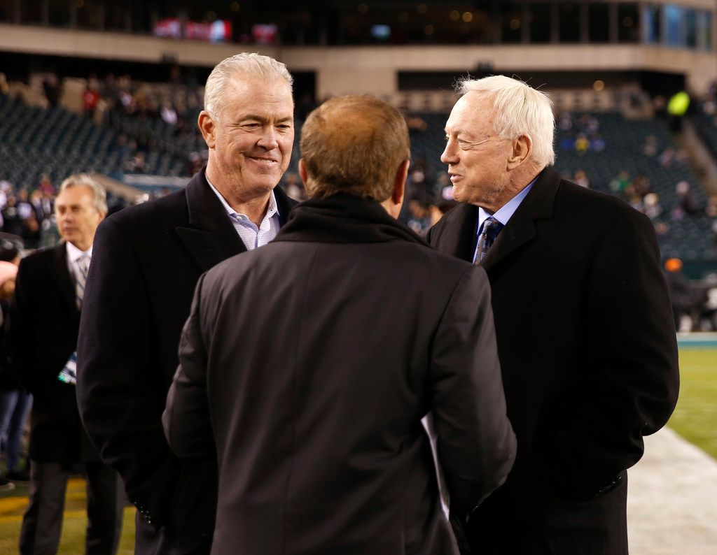 Dallas Cowboys chief operating officer Stephen Jones (left) and his father Dallas Cowboys owner Jerry Jones on the field before the Dallas Cowboys and Philadelphia Eagles game at Lincoln Financial Field in Philadelphia, Penn. on Sunday, Nov. 11, 2018. (Rose Baca/The Dallas Morning News)
