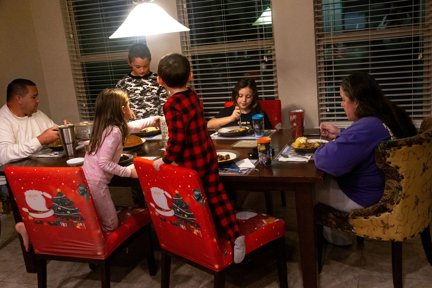 "Rowley eats dinner with husband Brian and their children Emery, 9; Emily, 8; Avery, 6; and Jaxson, 4. The mother of four says her husband does all the things she forgets and regularly ""saves my life."" For instance, he makes sure her minivan doesn't run out of gas on the tollway and ""doesn't just do the laundry but puts it away."""