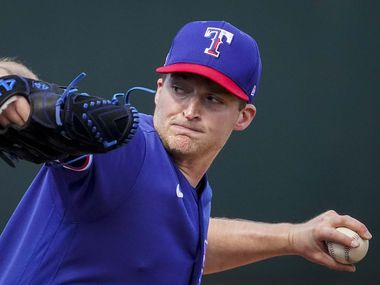 Texas Rangers pitcher Wes Benjamin delivers during the third inning of a spring training game against the San Diego Padres at Surprise Stadium on Thursday, March 4, 2021, in Surprise, Ariz.