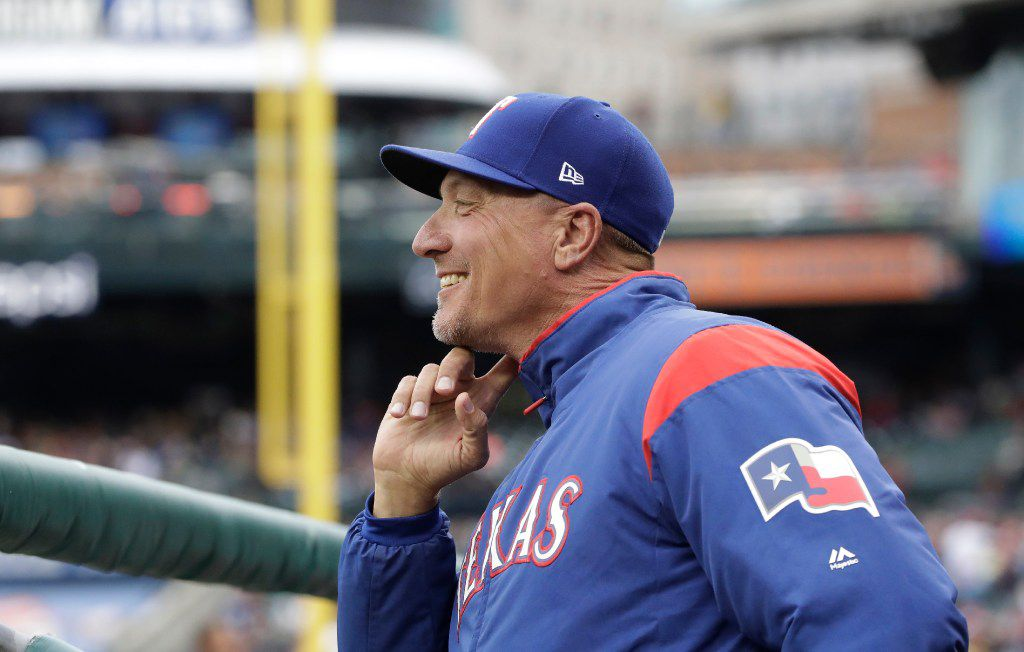 Texas Rangers manager Jeff Banister is seen during the first inning of a baseball game against the Detroit Tigers, Friday, May 19, 2017, in Detroit. (AP Photo/Carlos Osorio)