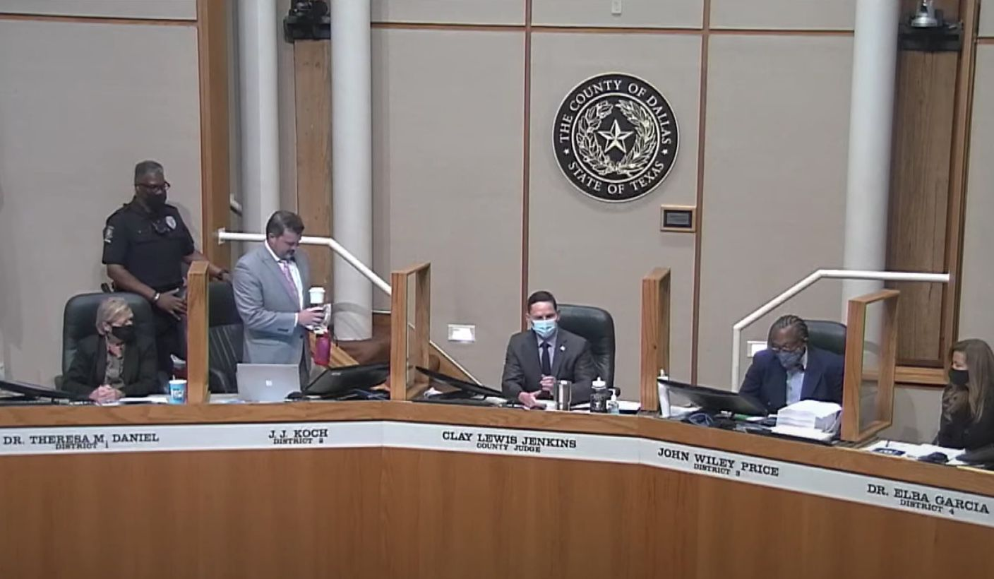 Dallas County Commissioner J.J. Koch was removed by a bailiff from the commissioners court meeting Aug. 3, 2021 for refusing to wear a mask.