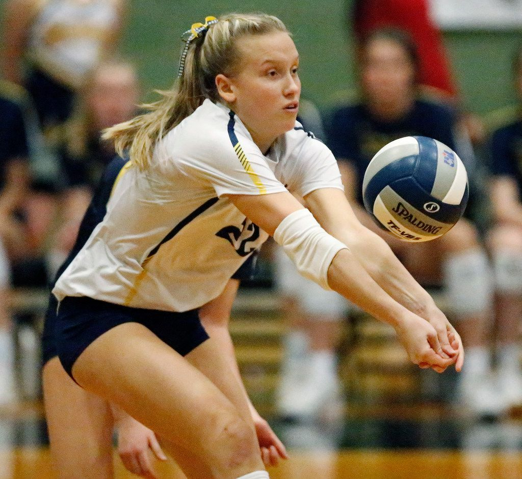 Highland Park High School Kennedy Westendorff (22) passes a serve during game two as Lovejoy High School hosted Highland Park High School in the Class 5A Region II championship match held at Berkner High School in Richardson on Saturday, November 16, 2019. (Stewart F. House/Special Contributor)