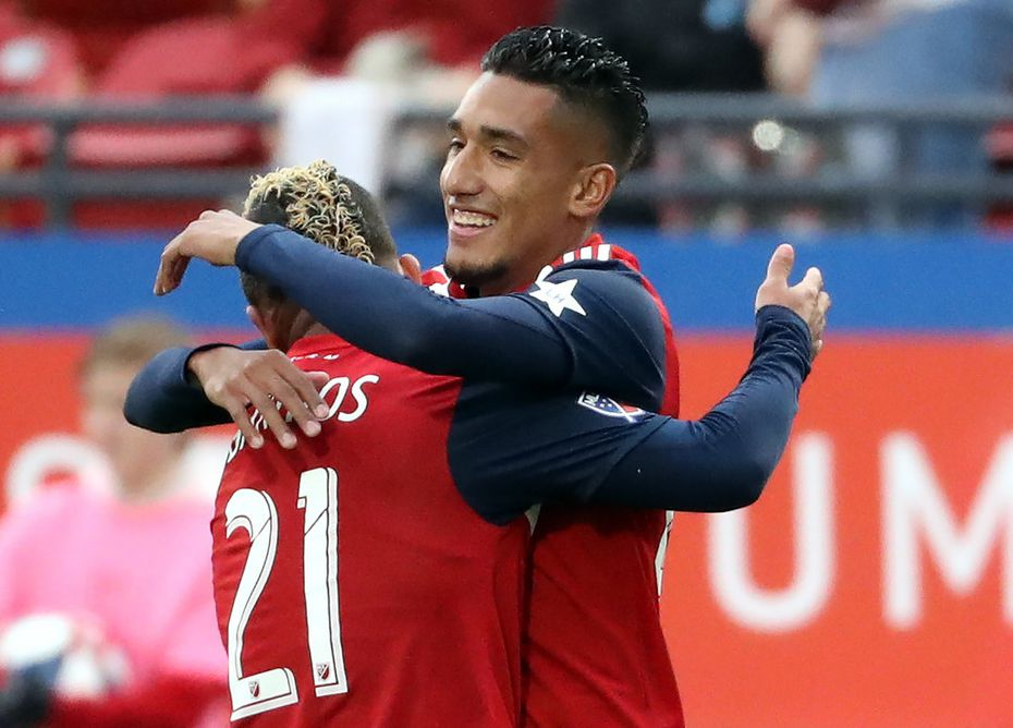 FRISCO, TEXAS - APRIL 13:  Jesus Ferreira #27 of FC Dallas celebrates his goal with Michael Barrios #21 in the first half against the Portland Timbers at Toyota Stadium on April 13, 2019 in Frisco, Texas. (Photo by Ronald Martinez/Getty Images)