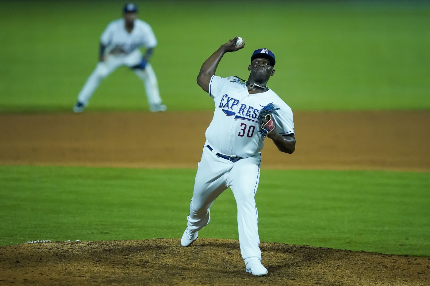 Round Rock Express pitcher Demarcus Evans delivers during the ninth inning against the Oklahoma City Dodgers at Dell Diamond on Thursday, May 6, 2021, in Round Rock, Texas.