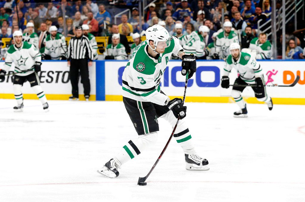 Dallas Stars defenseman John Klingberg (3) throws a shot at the goal against the St. Louis Blues during the second period at the Enterprise Center in St. Louis, Tuesday, May 7, 2019. The teams were playing in the Western Conference Second Round Game 7 of the 2019 NHL Stanley Cup Playoffs. (Tom Fox/The Dallas Morning News)