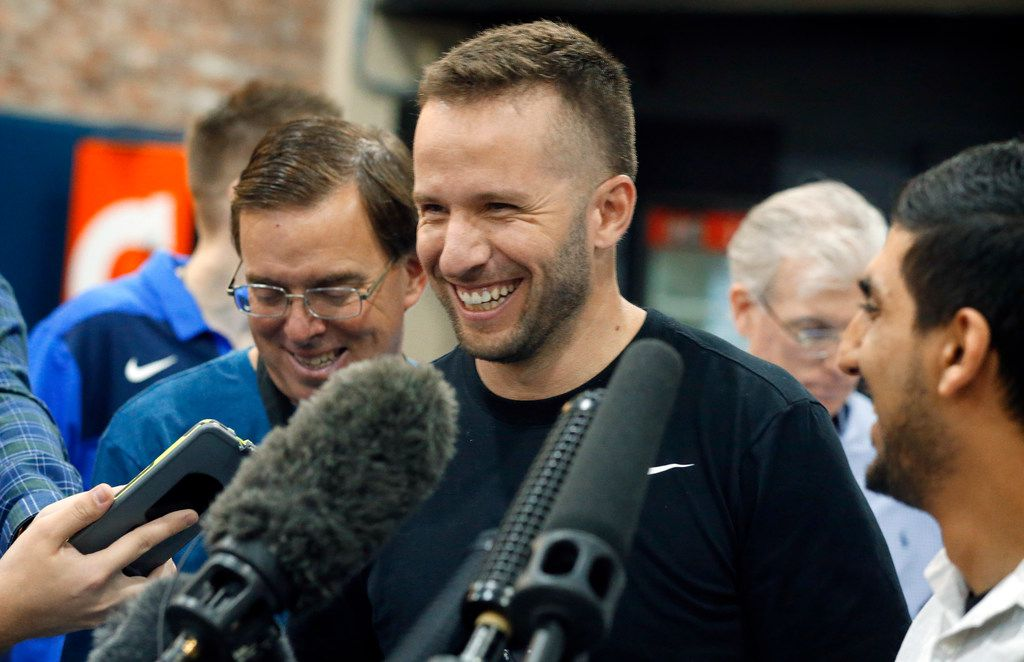Dallas Mavericks guard J.J. Barea visits with the media a day after the teams last game of the season. The interview took place at the American Airlines Center in Dallas, Thursday, April 11, 2019. (Tom Fox/The Dallas Morning News)