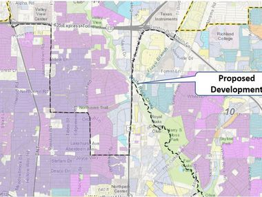 A map from a city of Dallas presentation shows the location of Cypress Creek at Forest Lane, a proposed mixed-income development in northeast Dallas applying for housing tax credits.