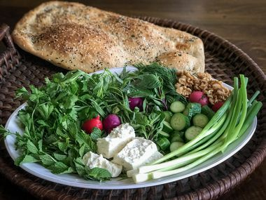 Sabzi khordan is a Persian platter of fresh herbs.