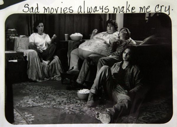 """A scrapbook photo from the 1993 movie What's Eating Gilbert Grape includes Darlene Cates with her movie """"sons"""" played by Johnny Depp (lower right) and Leonardo DiCapro (second from right)."""