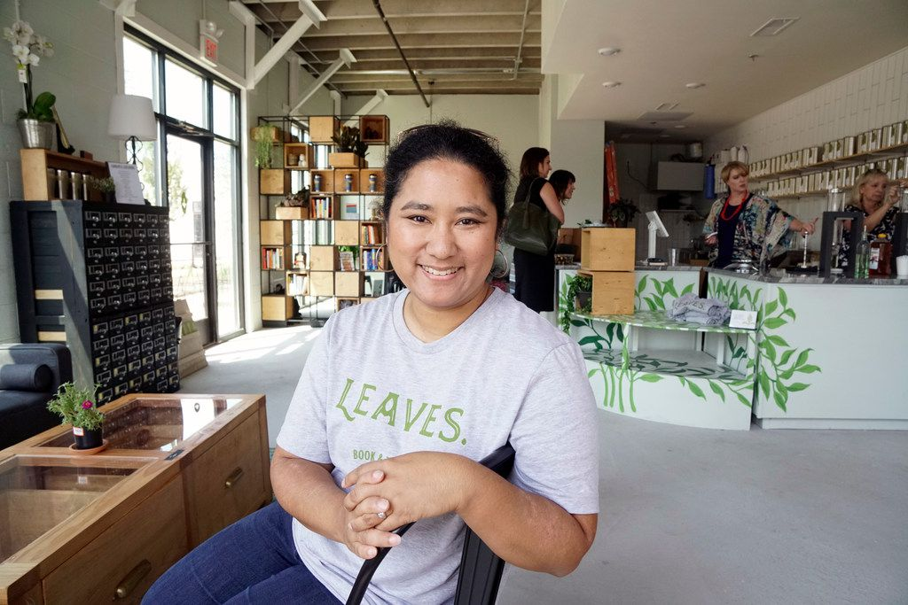 """Tina Howard at her store """"Leaves Book and Tea Shop""""  in Fort Worth, Texas on Thursday August 23, 2018. The shop in the Near Southside community offers a place to retreat from the rigors of daily life.  (Lawrence Jenkins/Special Contributor)"""