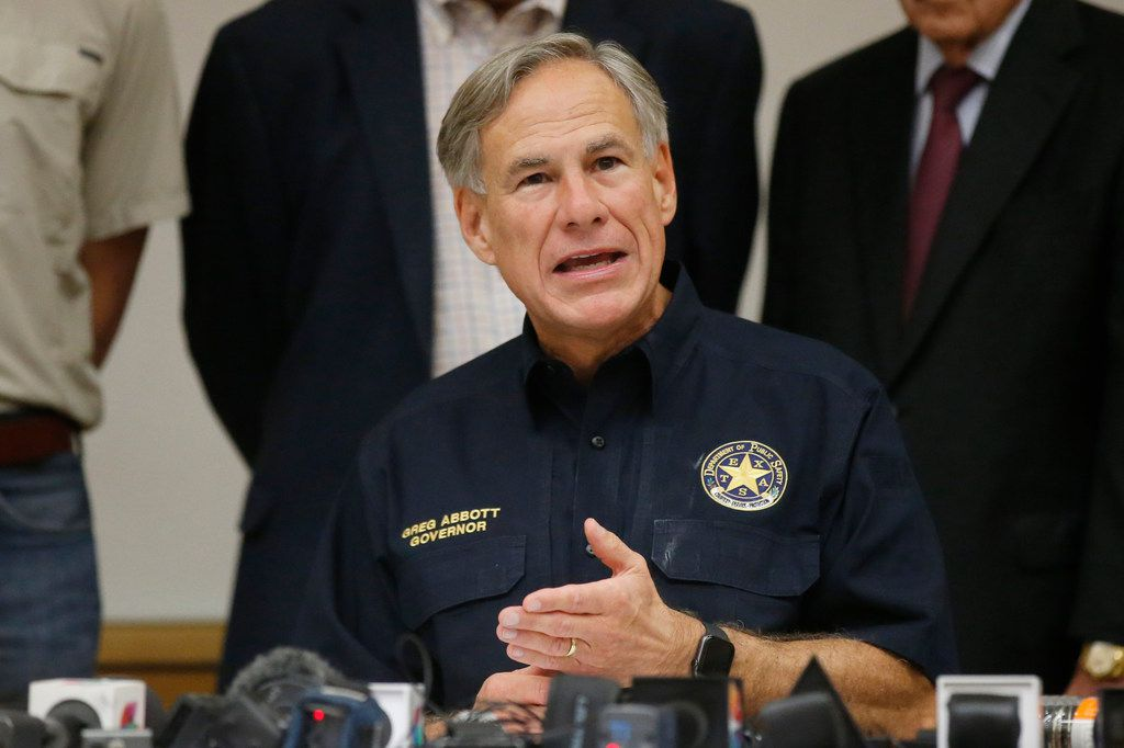 Texas Gov. Greg Abbott speaks during a news conference concerning last Saturday's shooting in Odessa.