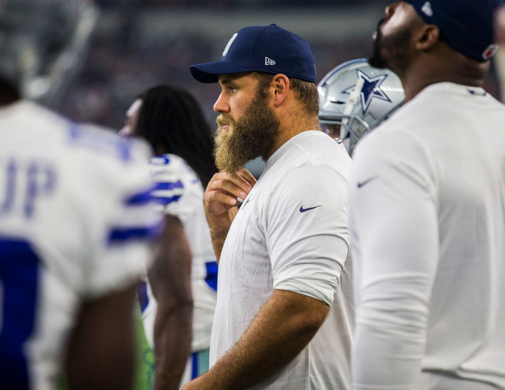 FILE - Cowboys center Travis Frederick (72) stands on the sideline during the first quarter of a preseason game between the Cowboys and Arizona Cardinals on Sunday, Aug. 26, 2018, at AT&T Stadium in Arlington.