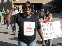 Carol Harrison Lafayette was among dozens of protestors at the old courthouse in downtown Fort Worth, Texas on Friday, May 29, 2020. The protest was to show solidarity in the midst of the latest killing of an African American man by police in Minnesota.