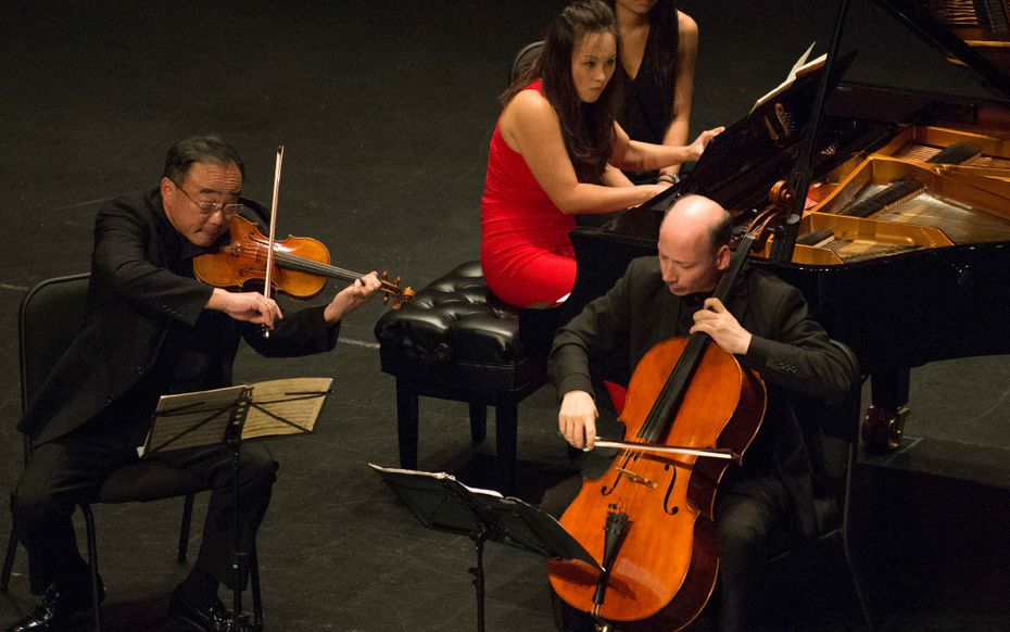 Cho-Liang Lin, left, Qian Wu, and Clive Greensmith perform Anton Arensky'€™s Piano Trio #1 in D Minor, Op. 32 at Dallas City Performance Hall on September 18, 2016.