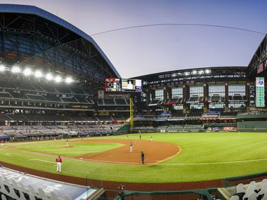 A panoramic view shows the roof open at the stadium as the Texas Rangers face the Oakland Athletics during the first inning at Globe Life Field on Friday, Sept. 11, 2020.