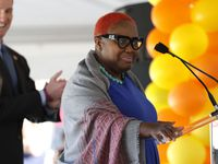 Former Dallas City Council member Carolyn Davis speaks during the opening celebration of CitySquare Opportunity Center in South Dallas on Nov. 6, 2014. She died in a car crash last summer but has been implicated in another City Hall bribery scandal.
