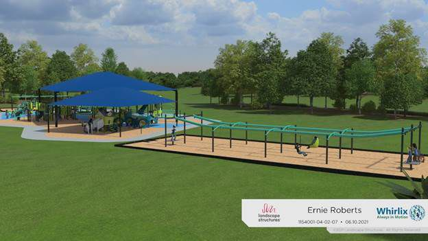 This rendering of one of the play areas at Ernie Roberts Park in DeSoto. Whirlix Design was selected to design and construct an inclusive playground at Ernie Roberts Park in DeSoto with elements that children of all abilities can use. A groundbreaking is scheduled for today.