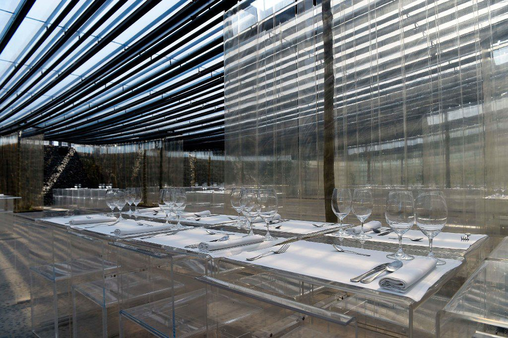 """A picture taken in Olot on March 2, 2017 shows a dinning room of the restaurant """"les Cols"""" designed by RCR architects, formed by Spanish architects, Rafael Aranda, Carme Pigem and Ramon Vialta."""