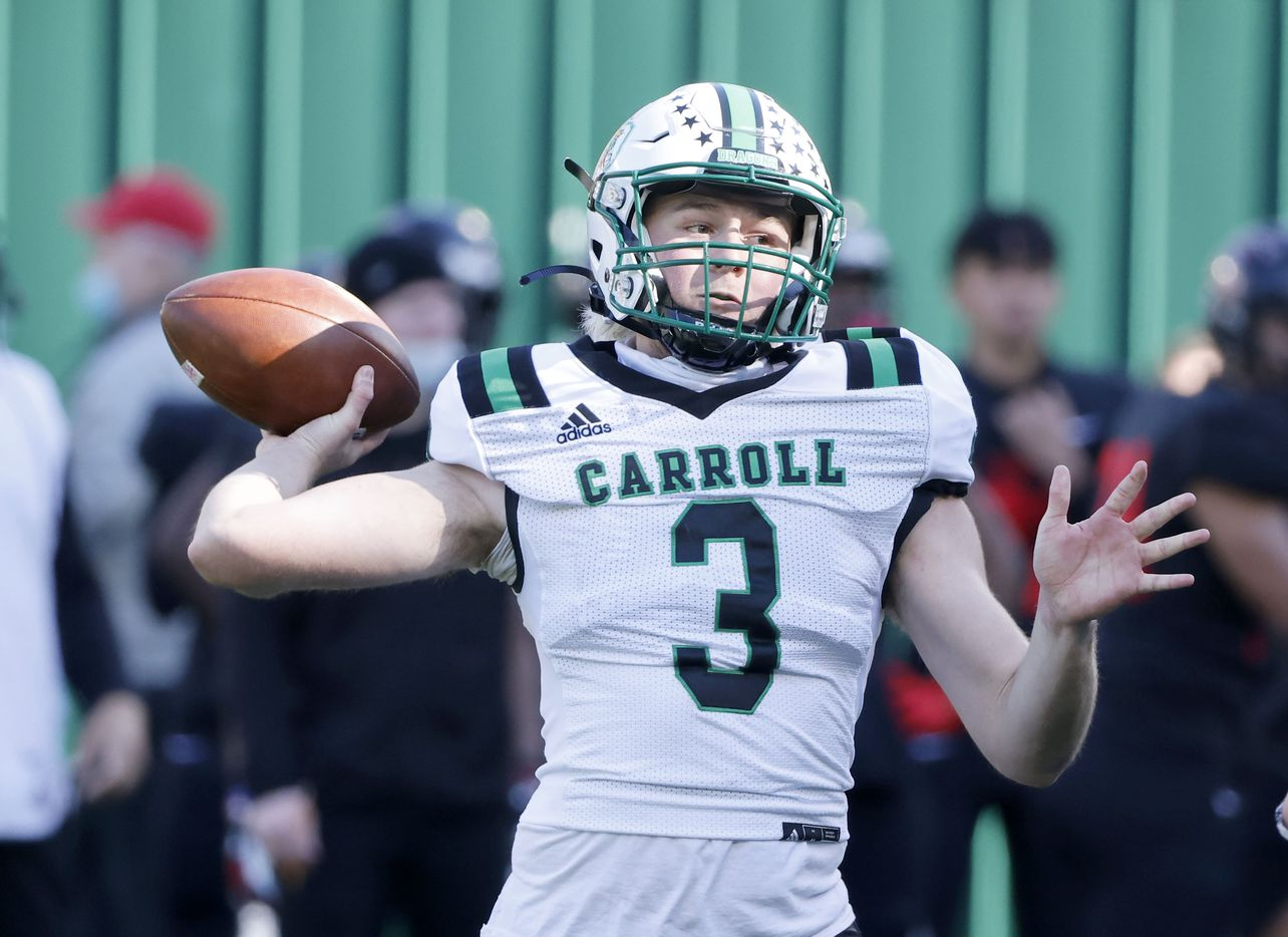 Southlake quarterback Quinn Ewers (3) throws against Euless Trinity during the Class 6A Division I Region I high school football final, in Arlington, Texas, on Jan. 2, 2020. Southlake won 59-35.(Michael Ainsworth/Special Contributor)