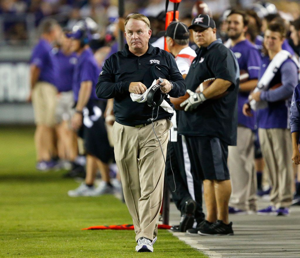 FILE - TCU Horned Frogs head coach Gary Patterson paced the sideline as they faced the Kansas Jayhawks at Amon G. Carter Stadium in Fort Worth, Texas, Saturday, October 21, 2017. (Tom Fox/The Dallas Morning News)