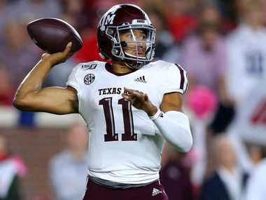 OXFORD, MISSISSIPPI - OCTOBER 19: Kellen Mond #11 of the Texas A&M Aggies throws the ball during the first half against the Mississippi Rebels at Vaught-Hemingway Stadium on October 19, 2019 in Oxford, Mississippi.