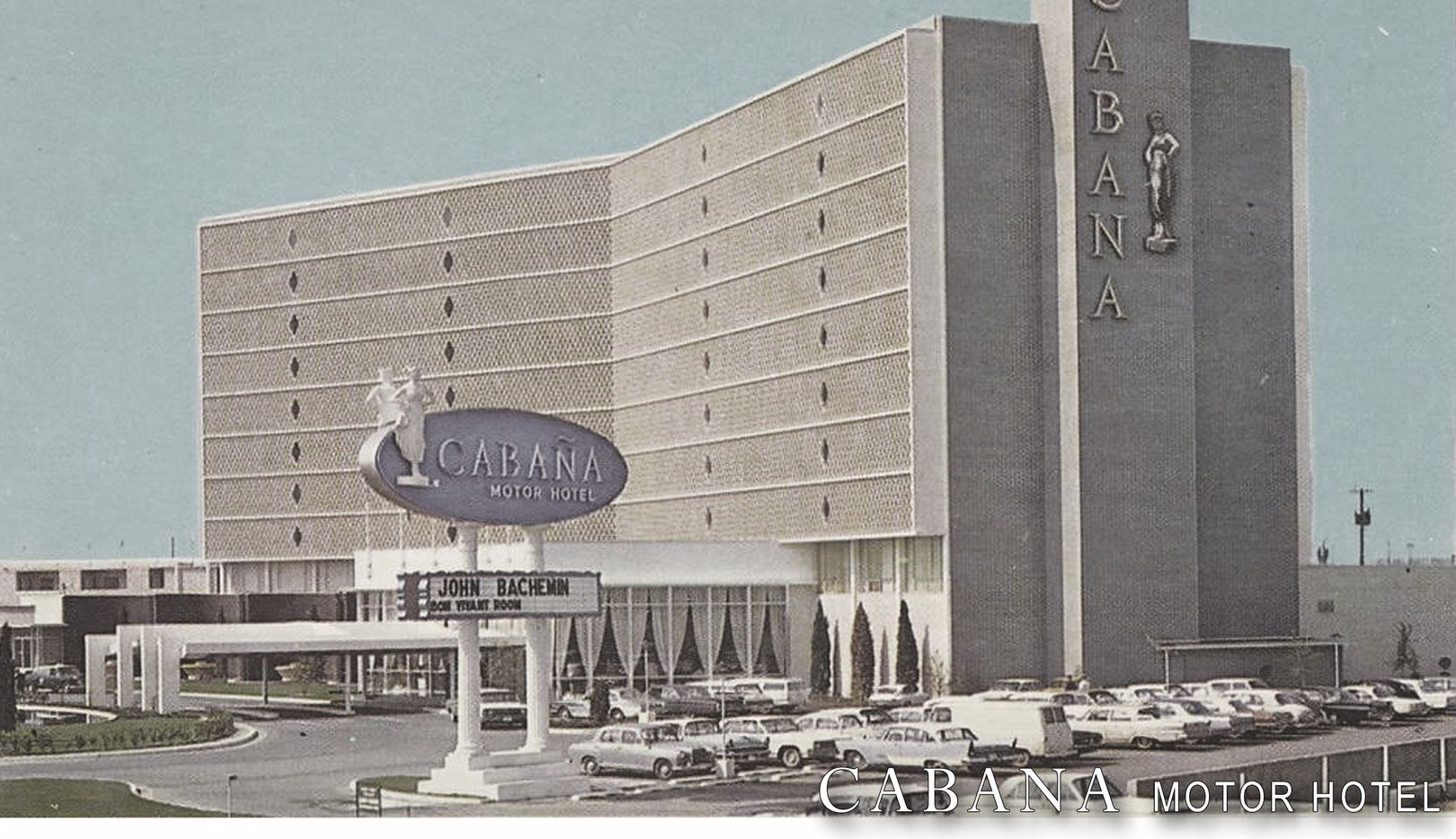 A 1960s photo of the Cabana Hotel in downtown Dallas.
