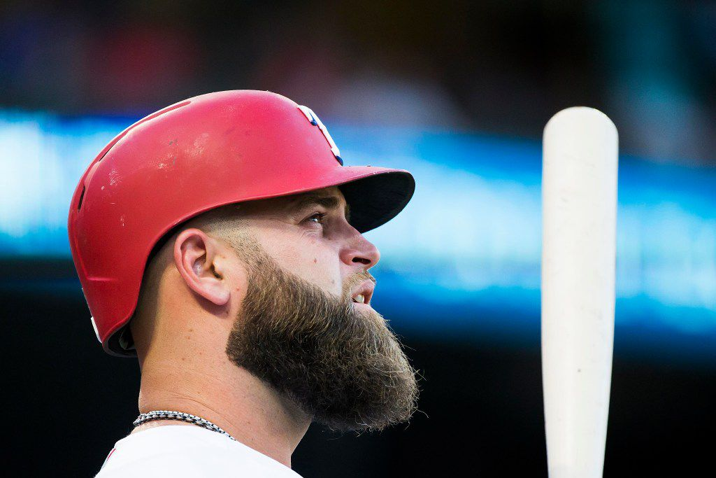 Texas Rangers first baseman Mike Napoli waits in the on deck circle during the first inning against the Philadelphia Phillies at Globe Life Park on Wednesday, May 17, 2017, in Arlington. (Smiley N. Pool/The Dallas Morning News)
