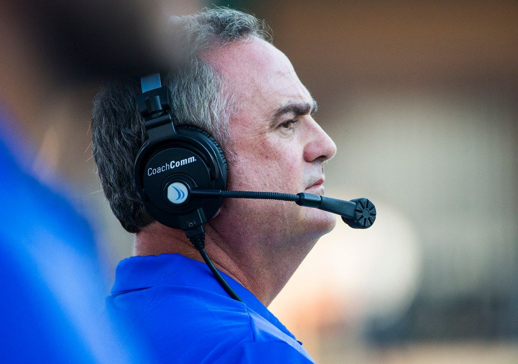 Southern Methodist Mustangs head coach Sonny Dykes watches action on the field during a game between University of North Texas and Southern Methodist University on Saturday, September 1, 2018 at Apogee Stadium in Denton, Texas. (Ryan Michalesko/The Dallas Morning News)