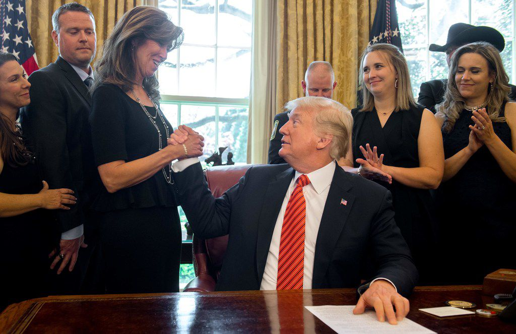 President Donald Trump congratulated Captain Tammie Jo Shults, who was the pilot of Southwest Airlines Flight 1380 when it experienced engine failure en route from New York to Dallas on April 17. Trump met with crew members and five passengers at the White House on Tuesday.