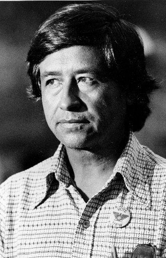Cesar Chavez, leader of the United Farm Workers Union,  in  1975.