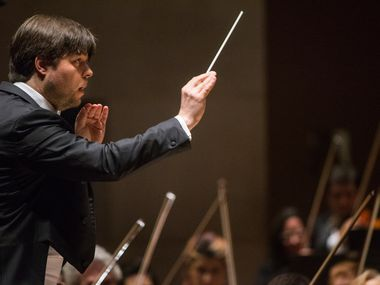 Guest conductor Juraj Valcuha leads the Dallas Symphony Orchestra at the Meyerson Symphony Center in Dallas on March 7, 2019.